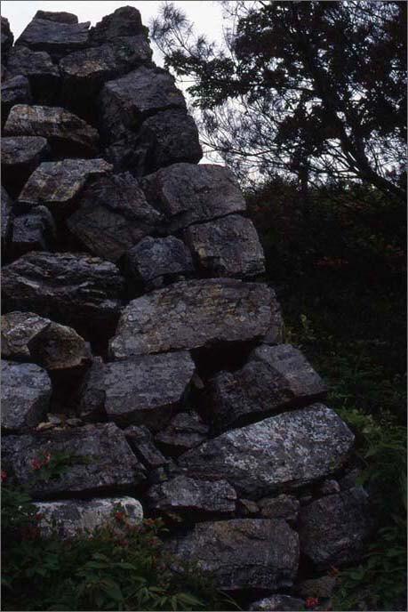 石垣の隅の部分には、初期的な算木積(さんぎづみ)も認められ流ことがわかる城山の石垣の画像