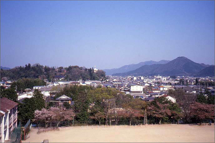 篠山城から東望の八上(やかみ)城跡/右側の山[高城山]の画像