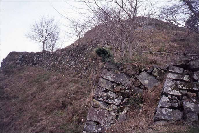 構築の時期差により、2種類の様式が観察される城山の石垣の画像