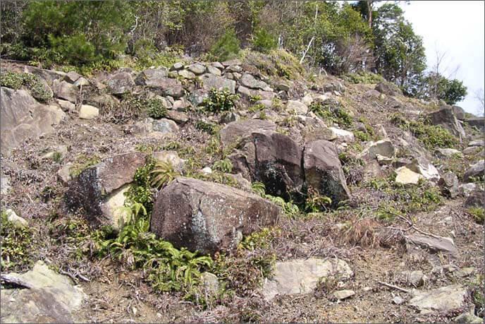 大きな岩が行く手を塞ぎます。