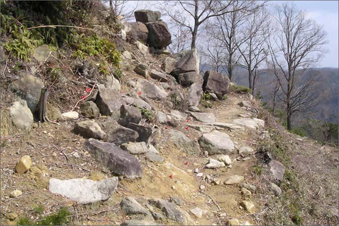 登山道の下は急斜面の崖です。