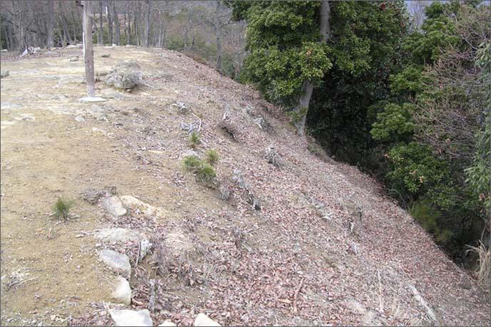 山城途中の開けた土地の端側の崖斜面の画像