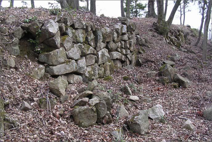 Ⅱ曲輪側面に残存する石積みの画像