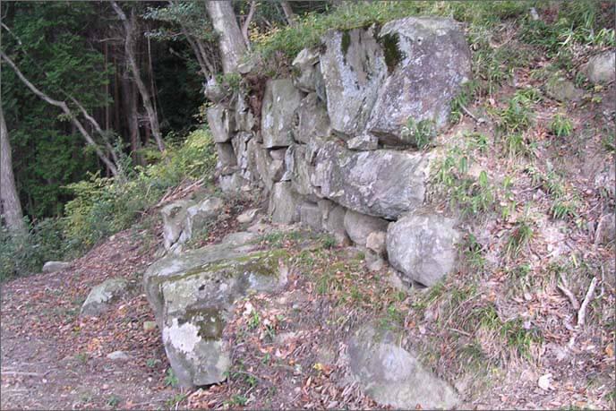 置塩城の中でも大きな石組みの見られるところ。