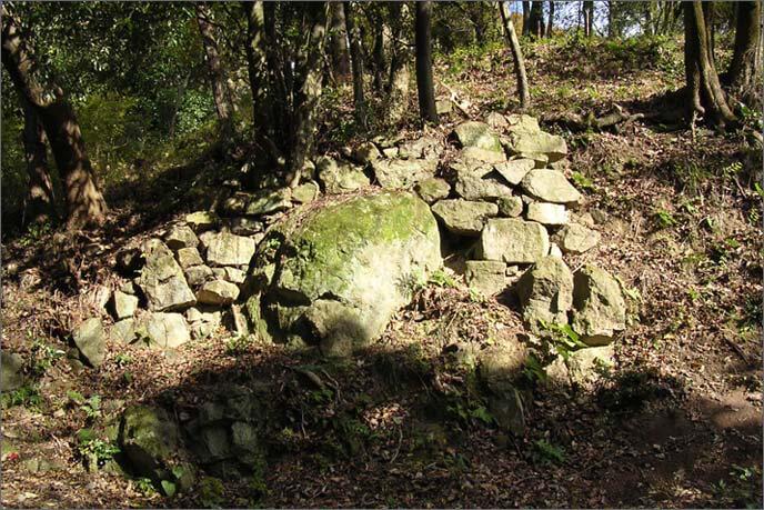 本丸の曲輪(くるわ)群下の石垣