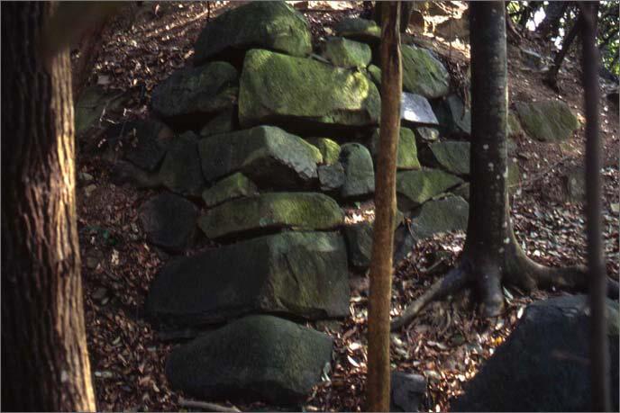 城山に残る石垣の画像