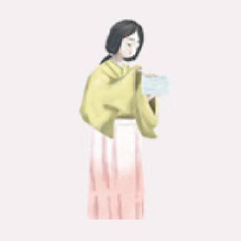 皿を数える悲しげなお菊のイラストイメージ