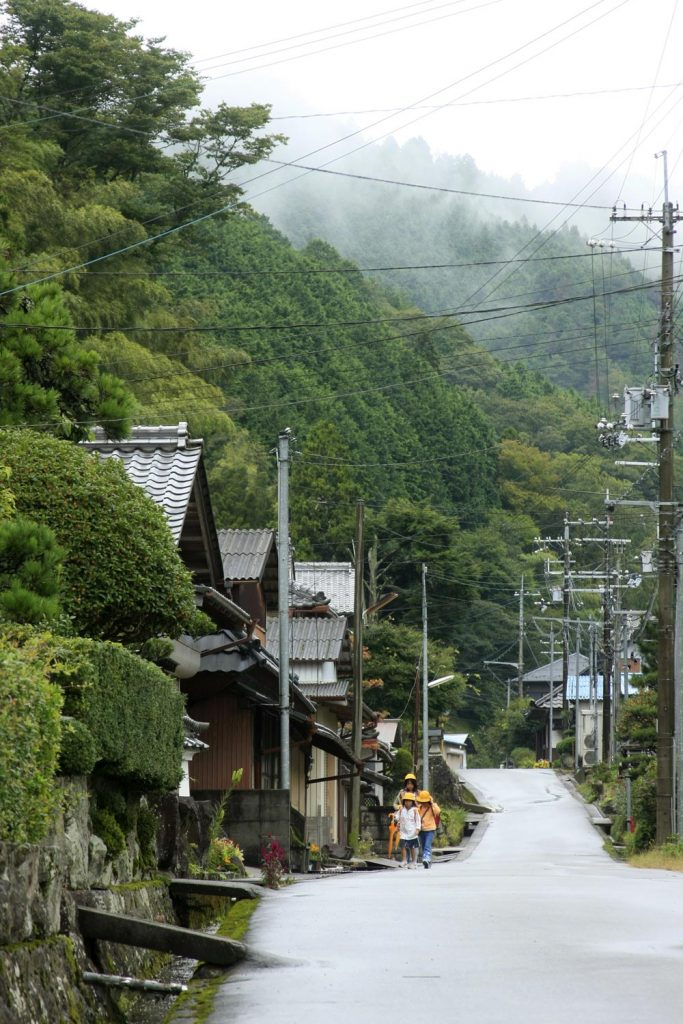朝もやが残る山と街道