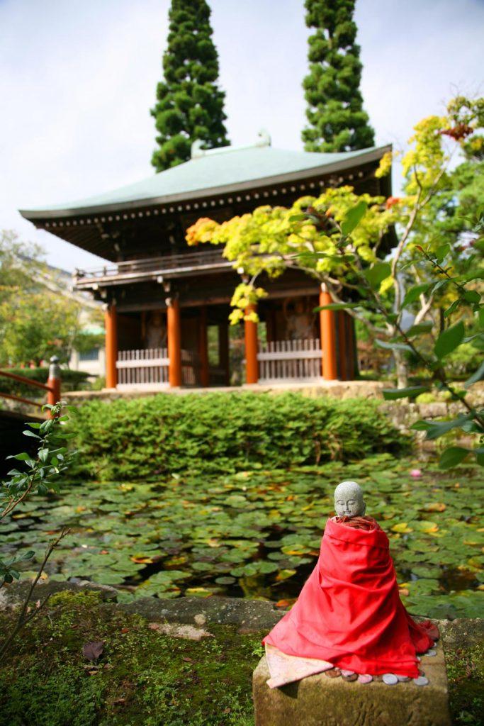 門と池と仏様