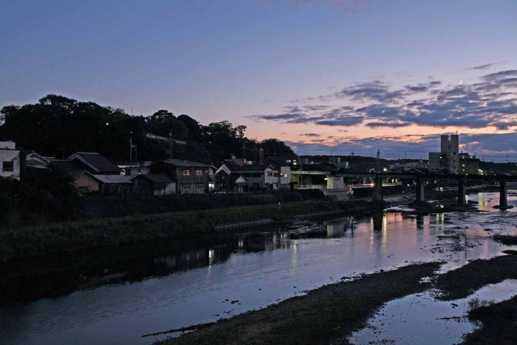美嚢川と三木城の夕景