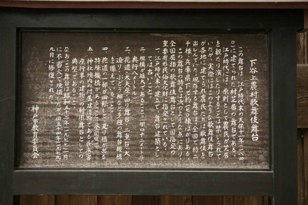 下谷上農村歌舞伎舞台(説明板)