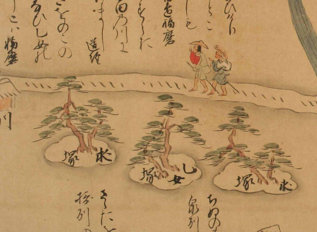 乙女塚と求女塚(兵庫名所図巻)