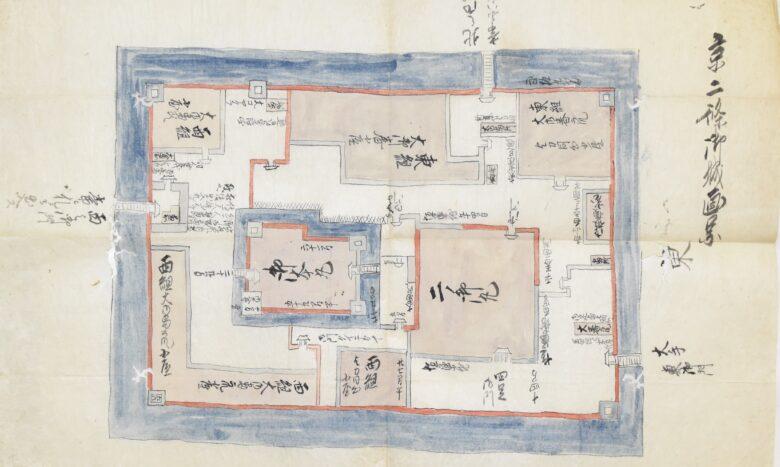 当館蔵(喜田文庫)の京二條御城画図の画像